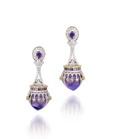 India Radiant Orchid amethyst, diamond and citrine earrings