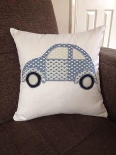 Patchwork appliqued Beetle cushion by ScatterDesigns on Etsy