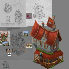 Isometric illustrations and game elements detectives house  isometric building -design process isometric |  isometric graphics |  buildings |  facebook game |  game design |  illustration |  photoshop