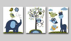 Elephant Nursery Giraffe Nursery Owl Nursery Baby Nursery Decor Baby Boy Nursery Kids wall art Nursery Print set of 11x14 tree green blue