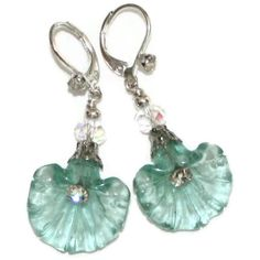 Sterling Silver and Glass Flower Earrings  Lever by marykerran, $23.00