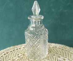 Vintage Cut Glass Perfume Bottle Decanter by OurBarefootCottage, $7.35
