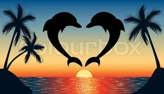 Heart Shapes | Stock vector of 'jumping up dolphin shaped heart with sunset'