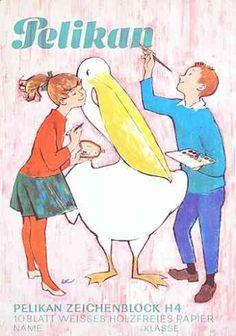 Zeichenblock der Firma Pelikan aus den 60er Jahren (1965)., www.puppenmuseum.de