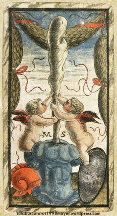 ACE OF WANDS, from the Sola-Busca Tarot (Italy 1491) faithful reprinted by Wolfgang Mayer (Germany 1998)