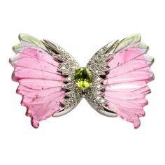 Watermelon Tourmaline Diamond Gold Butterfly Brooch Pin