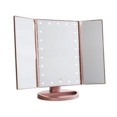 Gold Vanity Mirror, Lighted Vanity Mirror, Makeup Vanity Mirror, Vanity Room, My Mirror, Mirror With Lights, Rose Gold Mirror, Cute Bedroom Ideas, Cute Room Decor