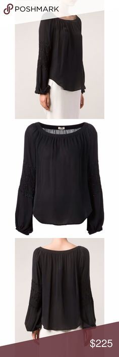 L' agence beaded silk blouse Black silk beaded blouse from L'agence featuring a scoop neck and bell sleeves. NWT. L'AGENCE Tops Blouses