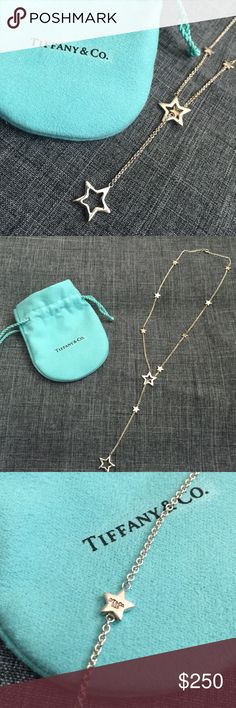 TIFFANY & CO Silver Star Lariat Necklace Tiffany and Co. .925 Sterling Silver Star Lariat Necklace. No longer available and very rare. In used condition. Recently polished at Tiffany South Coast Plaza. Comes with dust bag. Tiffany & Co. Jewelry Necklaces