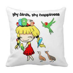 My birds my happiness pillow. Available also in different pillow size. #cutecartoon #bird #girlcartoon #kawaiigirl #parrot #birdcartoon #drawing #sweetlittlegirl #sweetdaughter #birdlover #cartoon #manga #chibi #avian #zazzle #petopet #emmil #thomas #deviantart #merchandise #sale #birds #throw #pillow #pillows #throwpillows #throwpillow