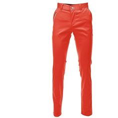 FLATSEVEN Mens Slim Fit Chino Pants Trouser Premium Cotton ($37) ❤ liked on Polyvore featuring men's fashion, men's clothing, men's pants, men's casual pants, trousers, mens slim fit chino pants, mens pants, mens chino pants, mens orange pants and mens cotton pants