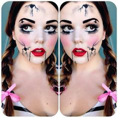 Who wants to be a broken doll for Halloween? 👻 Inspo via Broken Doll Halloween, Baby Boy Halloween, Sugar Skull Halloween, Halloween Doll, Halloween Make Up, Halloween Rocks, Halloween Dress, Rag Doll Makeup, Broken Doll Makeup
