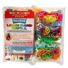 Loom Rubber Bands Refills Value Pack - 1800 Bands (600 with Glow in the Dark Neon Effect) - 5 Free Charms 90 S-clips 3 Hooks - Variety Kit of 14 Mixed Clear Colors with Fruity Smell Make Cool Bracelets - Latex Free Silicone - Rainbow Loom Compatible by Da