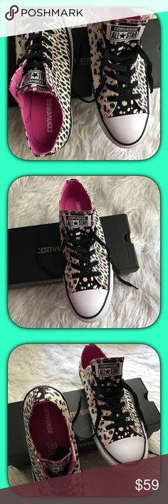 Converse All ⭐️ Star sneakers Do not go to the park, beach, picnic or on vacation without these cute multi-print Pink accented Converse All ⭐️ Star Sneakers!! Very fashionable & comfortable shoe wear for the spring & summer season!! Converse Shoes Sneakers