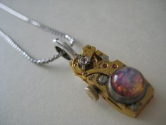 Steampunk Small Ruby/Gold Fire Opal Octagonal by RevampedRelics