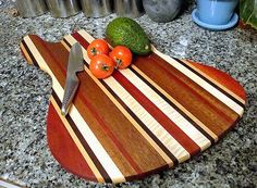 TG Thrillist Jazzy Bass Guitar Cutting Board - Goncalo Alves, Brazilian Cherry, Mahogany, Walnut, and Curly Maple