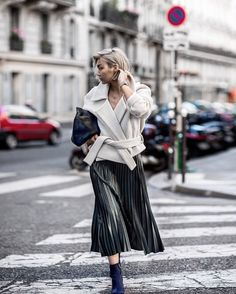 From @Beigerenegade Instagram - Minimal Life and Style Inspiration Source Structured and draped at #ParisFashionWeek. Wearing @Charliemay jacket & @Tibi boots. #Paris #Pfw