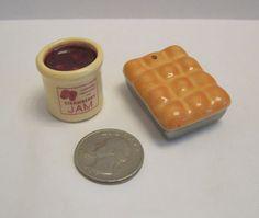 Arcadia Mini Pan of Rolls Crock of Jam Salt Pepper Shakers Miniature | eBay