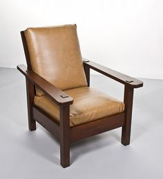 Stickley Brothers Paddle Arm Oak Morris Chair   By Myers Auction Gallery