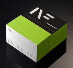 Green and black make a striking combination. Edge painting such as this can really make your business card pop!
