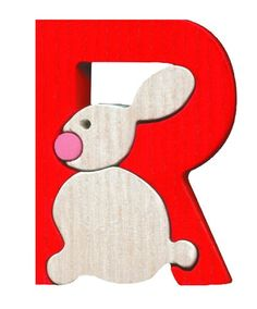 Montessori wooden puzzle R(abit) made by hand of maple wood,no harmful colors and no lacquer