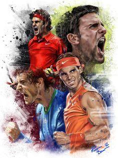 Roger Federer, Novak Djokovic Andy Murray Rafael #Nadal