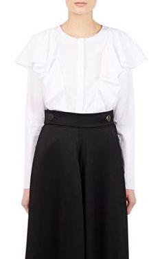 LANVIN Ruffle Button-Front Blouse. #lanvin #cloth #blouse