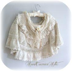 White Shawl Poncho  by auntcarriesattic