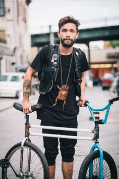 Troy rides a mutant swivel bike photographed at Charles Pl. and Myrtle Ave., Brooklyn hanging out at the Black Label Bike Club BBQ at Coast Cycles