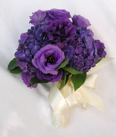 purple lisianthus and hydrangeas.