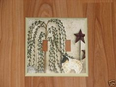 PRIMITIVE COUNTRY WILLOW TREE LAMB Dlb Switch plate #1 #HANDCRAFTED #WallDecor