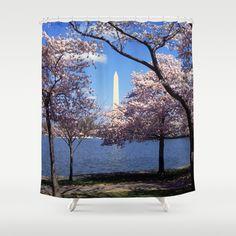 Washington Monument Through Cherry Blossoms Shower Curtain