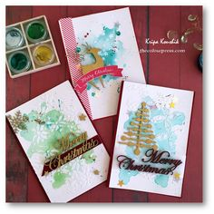 Watercolour CAS Christmas Cards using Colourarte Twinkling with Kripa Cas Christmas Cards, 2017 Design, Chipboard, Twinkle Twinkle, Cardmaking, October, Merry, Paper Crafts, Watercolor