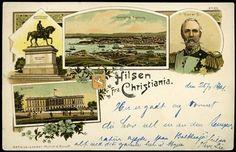 HILSEN FRA CHRISTIANIA,NORWAY . Oslo Flott kolorert kort med 4 motiver, bl.a. Oscar II utg Mittet & Roloff . Br. 1901