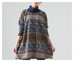 Fashion Retro Classic Print Floral Dress Loose by MordenMiss, $59.00