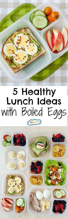 5 easy lunches using hard boiled eggs. High in protein and easy to make lunch ideas. #easylunchboxes #eggs #healthylunch #lunchideas