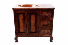 San Miguel Wood and Copper Vanity - CopperSinksOnline ,, From www.coppersinksonline.com