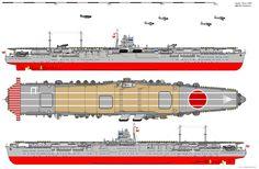 JIN Hiryū (飛龍) - Portaerei classe Soryu modificata - Entrata in servisuio giugno 1939 - Dislocamento 17.300 (standard), 20.165 tons (pieno carico) Lunghezza 222,0 m Larghezza 22,3 m Pescaggio 7,74 m Propulsione 8 caldaie Kampon,turbine ad ingranaggi , 4 eliche , 113 MW (153,000 shp)[1] Velocità 34.5 nodi (63.9 km/h) Autonomia 7.670 nm a 18 nodi Equipaggio 1,103 + 23 ufficiali dello Stato Maggiore della 2ª divisione portaerei - Incendiata nella battaglia delle Midway il 5 giugno 1942.