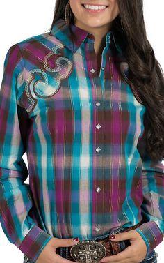 Rock 47 Women's Purple and Blue Plaid Western Shirt with Fancy Yoke