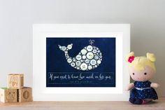 Nursery Whale Framed Nursery Art Gender Neutral by BellePapiers