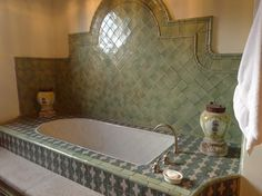 gorgeous blue and green tile work; home in San Miguel de Allende, Mexico