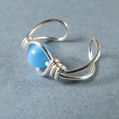 Sterling Silver Ear Cuff Sky Blue Cat's Eye by WireYourWorld
