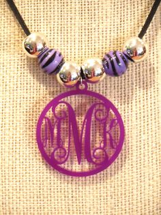 Beaded Monogram Necklace in Purple by Capital Letters MyCapitalLetters.com