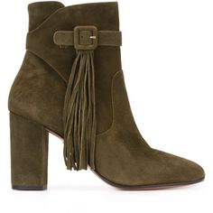 Aquazzura tassel detail ankle boots (14.136.745 IDR) ❤ liked on Polyvore featuring shoes, boots, ankle booties, green, bootie boots, green leather boots, real leather boots, leather boots and leather booties