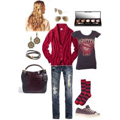 not a huge fan of the ripped up jeans, but I like the color of the sweater, and band shirts...