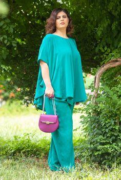 Compleu verde pantalon cu bluza SNK PLUS 12 - AMA Fashion Cold Shoulder Dress, Plus Size, Cool Stuff, Dresses, Fashion, Pants, Green, Vestidos, Moda