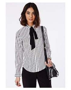 Missguided Shirts & blouses, Price: GBP 25.00, Striped Pussybow Blouse