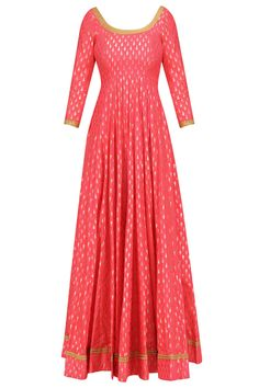 Coral foil work kalidaar anarkali kurta with off white dupatta available only at Pernia's Pop Up Shop.