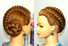 Braided updo, hairstyles for long hair. Прическа с плетением на длинные ...