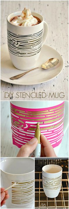 DIY Permanent Marker Stenciled Mug. Don't forget to bake in the oven to set or it will wash off!
